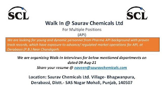 Saurav Chemicals Ltd Recruitment ITI, Diploma, B.Tech, MSc,  B.Pharma and M.Pharma Candidats For Production and QC Deparments In Panjab