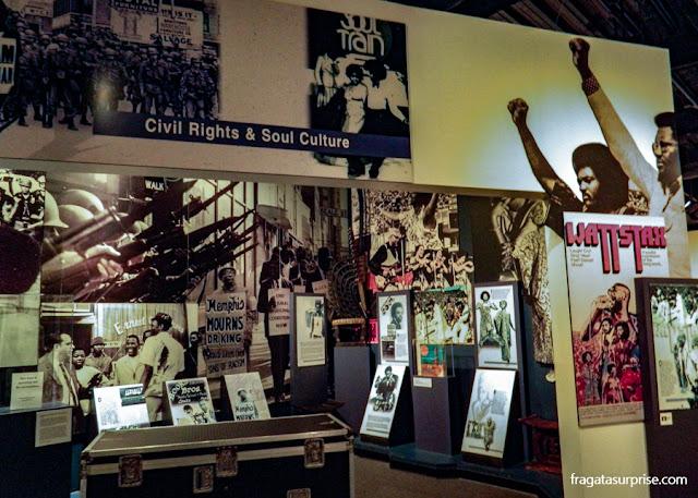Seção do Rock'n'Soul Museum lembra a importância da música negra no movimento pelos Direitos Civis nos EUA