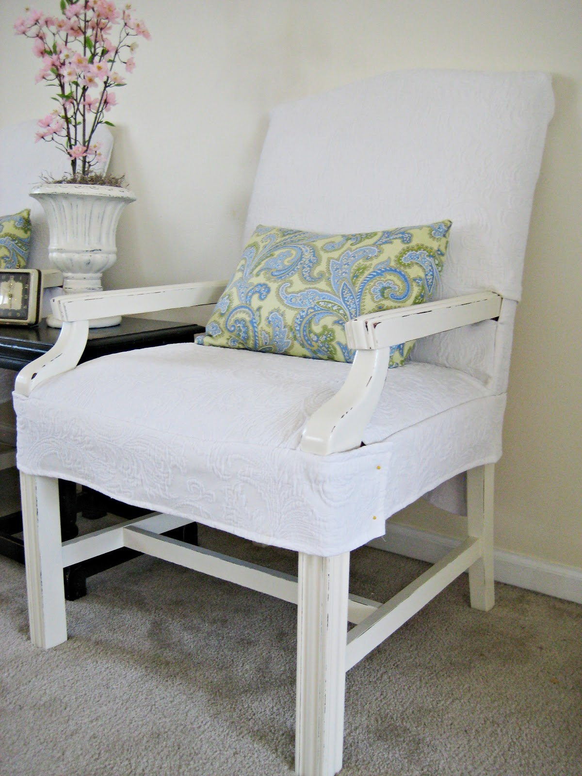 How To Slipcover A Chair With Arms Dining Seat Cover Material Happy At Home Slipcovered Arm Chairs