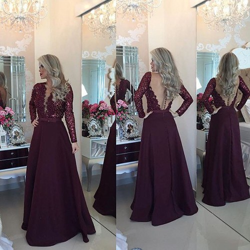 Sexy Burgundy Beadings Prom Dress A-Line Long Sleeves Lace Evening Gowns -Price:US$ 169
