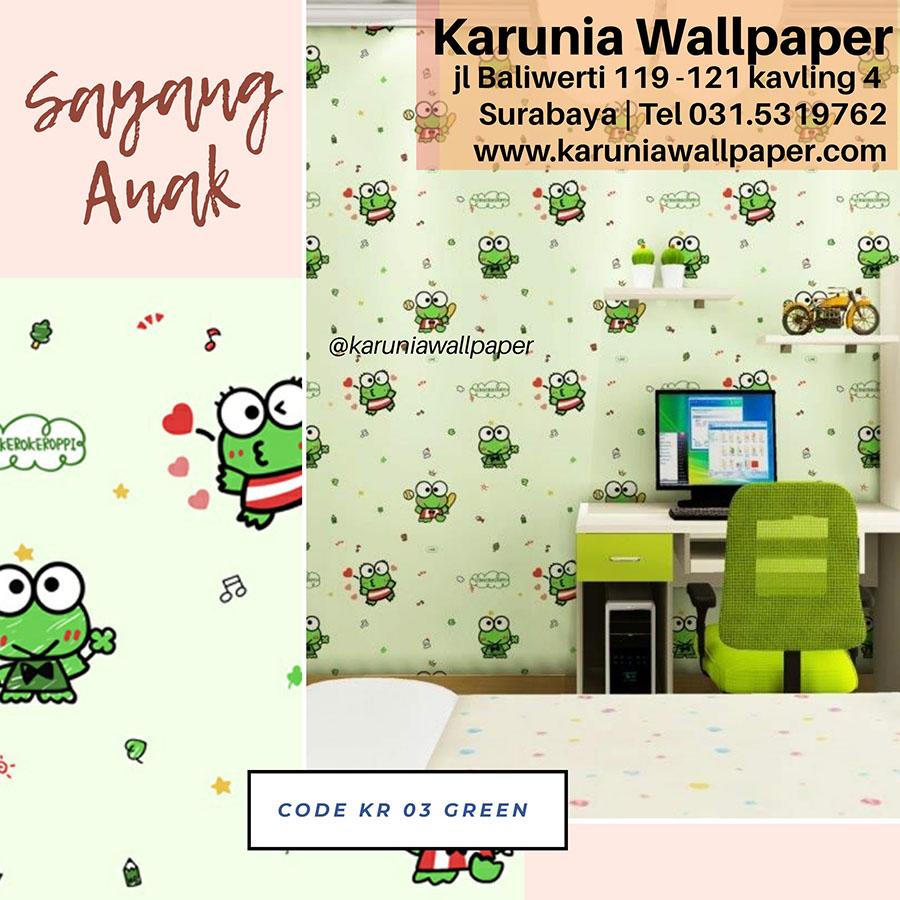 wallpaper dinding kamar anak hijau kero keroppi