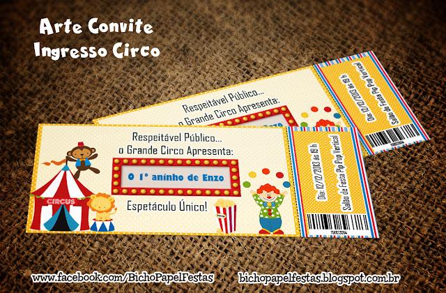 Arte Convite Ingresso Circo