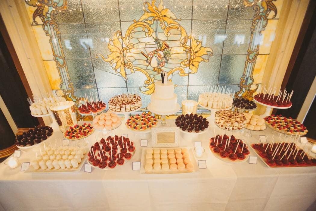 Wedding Sweet Tables Dessert Station Themes Tips Fruits: Cocoa & Fig: Classic 2 Tier Cake And Mini Dessert Table