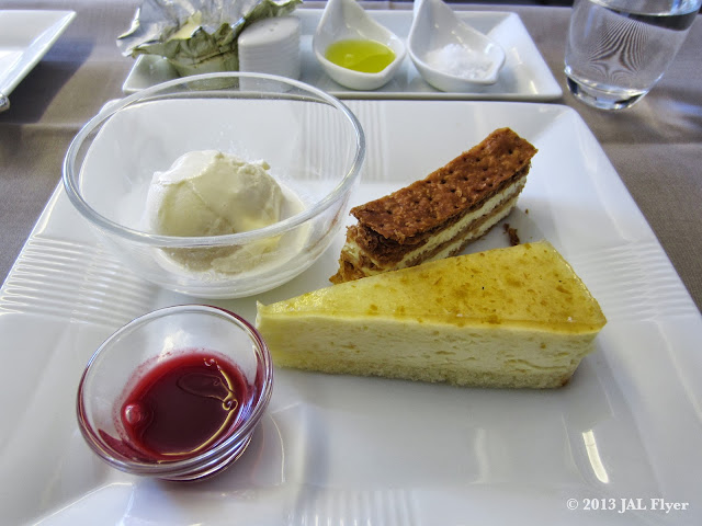 "JAL First Class Trip Report on JL005: Grand Dessert - ""Yuzu"" Mousse Cake, Mille-feuille with Raspberry Sauce, Vanilla Ice Cream"