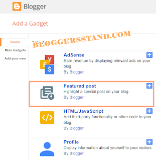 Adding blogger official featured post widget