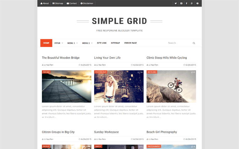 Simple Grid mobile friendly blogger template