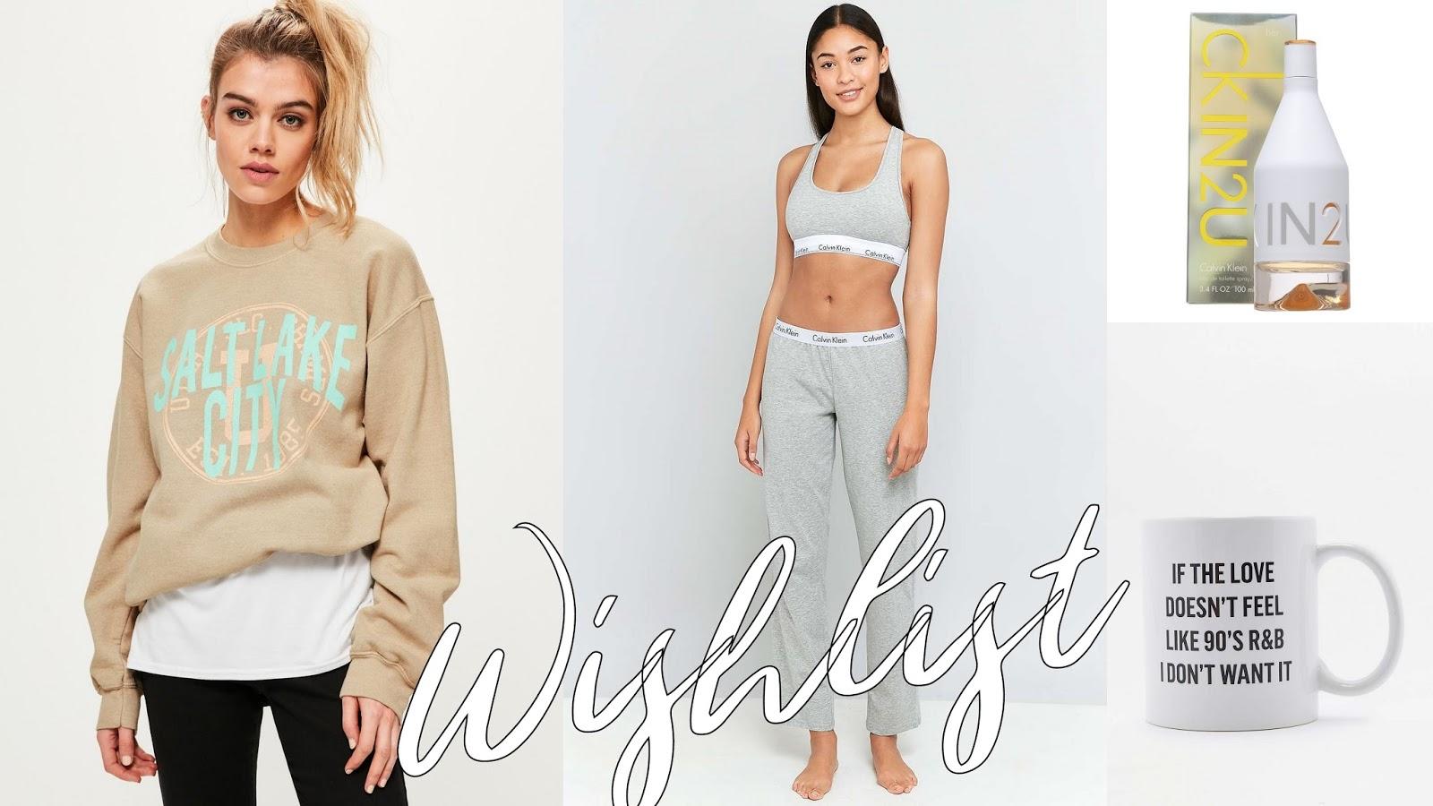 missguided sweater, urban outfitters mug, sale, calvin klein loungewear, calvin klein perfume