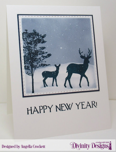 Divinity Designs LLC: Deer Silhouettes, Celebration, Double Stitched Squares Dies; Card Designer Angie Crockett