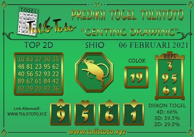 Prediksi Togel GENTING DRAWING TULISTOTO 06 FEBRUARI 2021