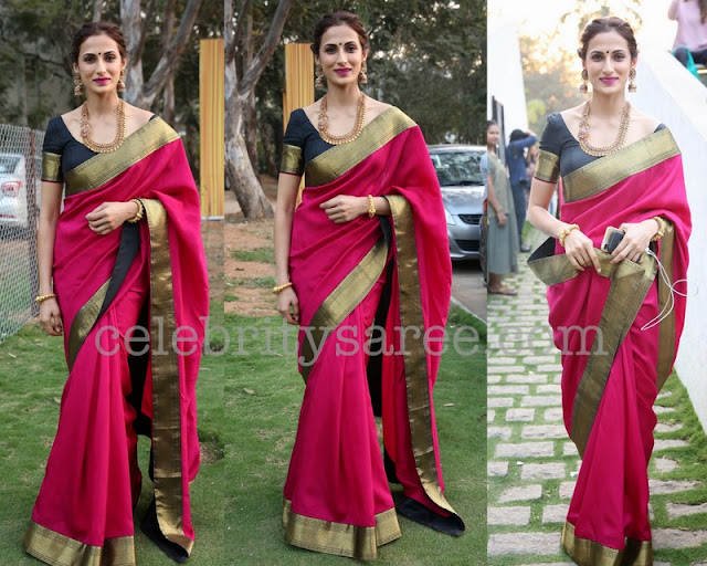 Shilpa Reddy Pink and Black Silk Saree