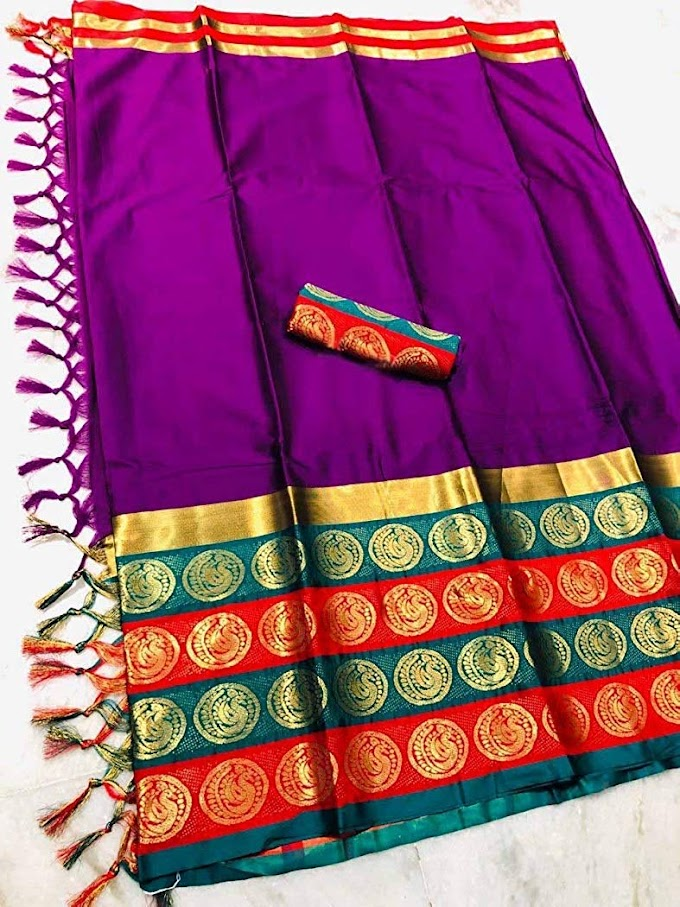 Beautiful lady Pure cotton silk weaving saree