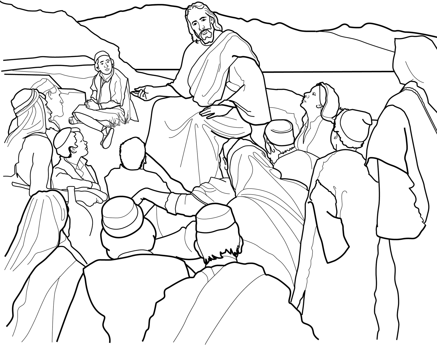 coloring pages of jesus teaching - photo#9