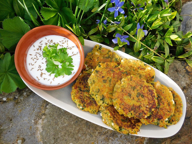 Spiced Courgette Carrot and Feta Fritters