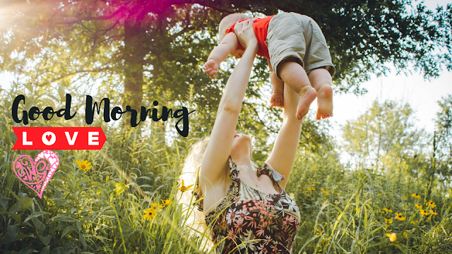 Good Morning Images with Jumping baby with Mother