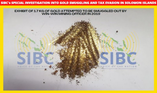 Exhibit of 1.7kg of gold attempted to be smuggled out by Win Win Mining Officer in 2019  Photo: SIBC News