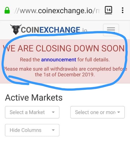 Withdraw Your Cryptocoins Now or Never - CoinExchange is Shutting Down