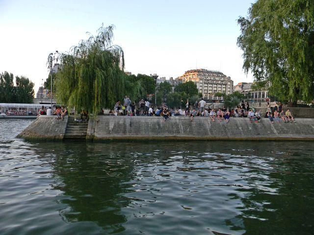 rzeka, Paryż, ludzie, Paryżanie