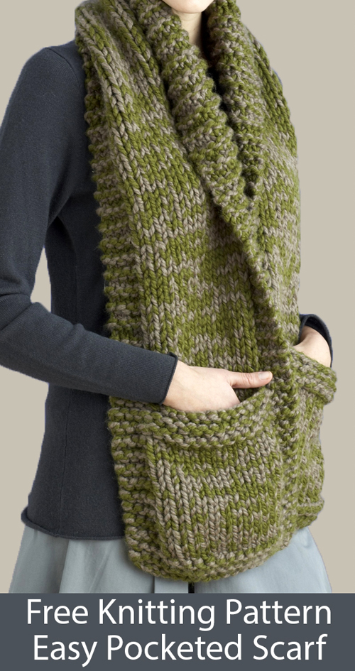 Easy Pocketed October Scarf - Free Knitting Pattern