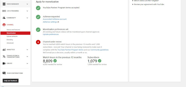 Youtube Apply for Monetization - Step 4