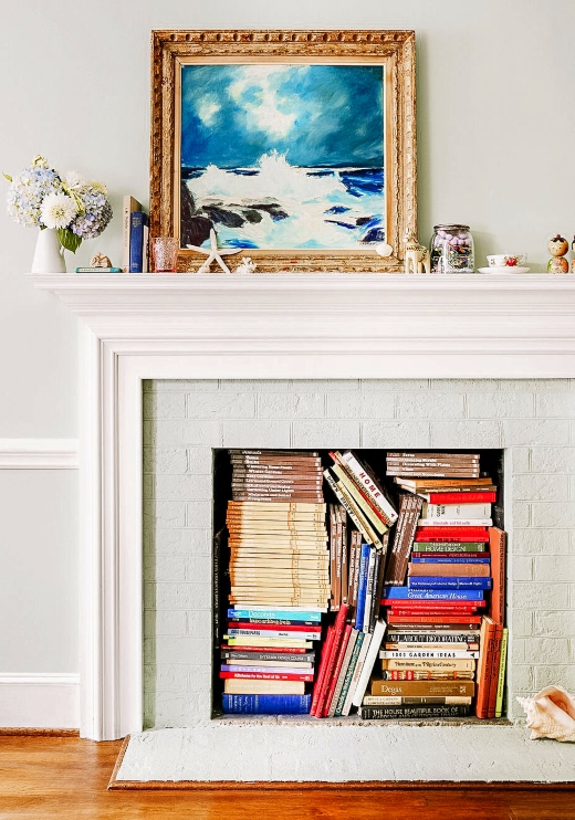 Books in Non Working Fireplace