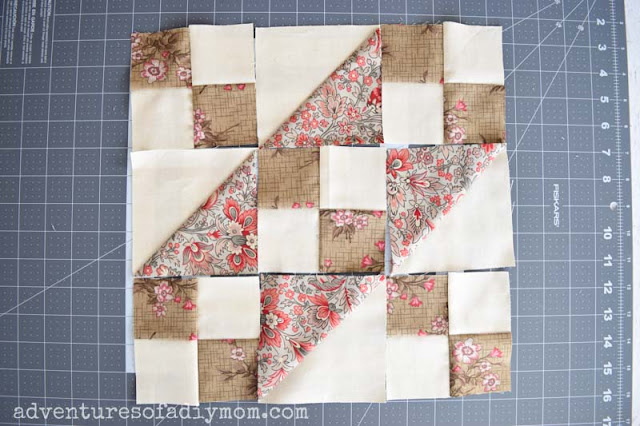 Jacob's ladder quilt pieces ready to sew