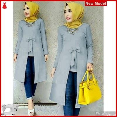 FHGS9094 Model Tunik Becca Abu, Tunik Pakaian Perempuan Wolly BMG