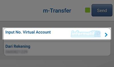 Transfer Virtual Account BCA Mobile - Pilih Send