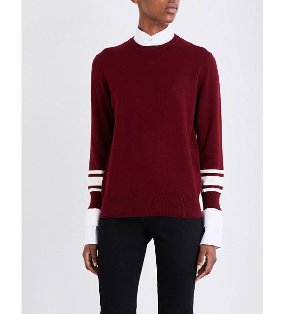 victoria beckham burgundy jumper