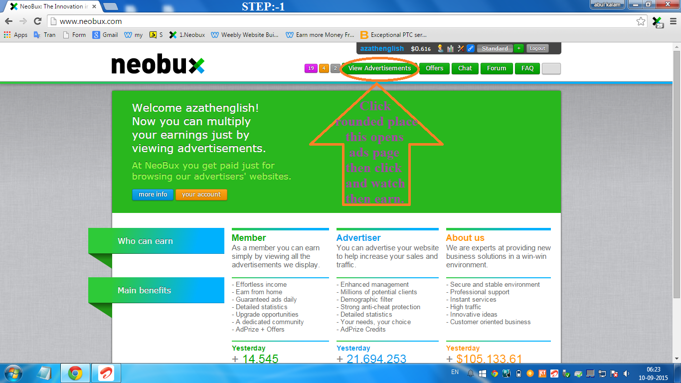 online job how to view advertisements in neobux paid to click how to view advertisements in neobux step 1