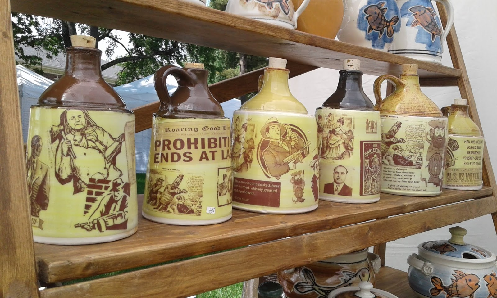 Painted With Saying Handsome Appearance Jugs Diligent Brown Moonshine Jug Ceramics & Porcelain