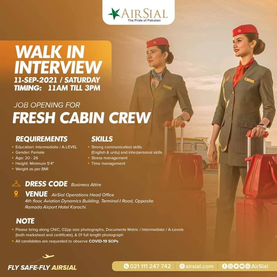 AirSial female cabin crew Job vacancy  walk in interview-SEP2021