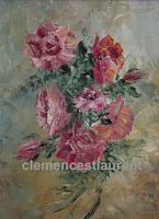 Fleurs choisies, gerbe de roses à l'huile 8 x 6, 1997, par Clémence St-Laurent