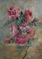 Fleurs choisies, gerbe de roses roses - huile 8 x 6 par Clémence St-Laurent (1997)