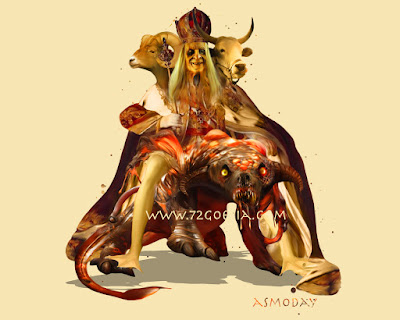 Asmoday the King of Hell in the Ars Goetia of the Lesser Key of Solomon