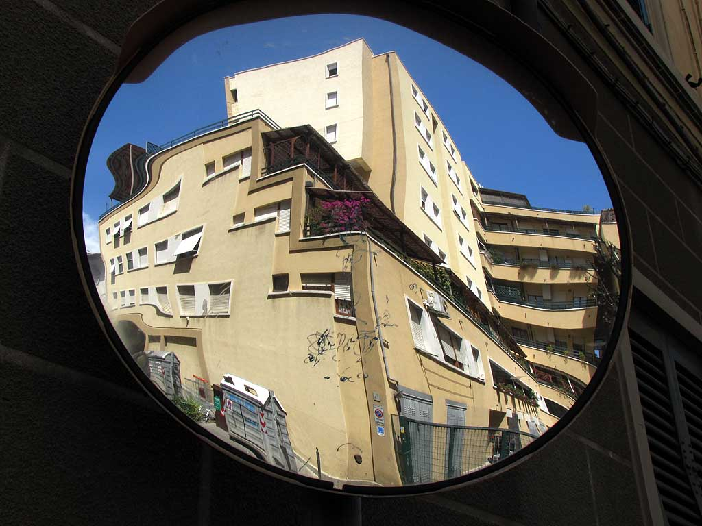 Building reflected in a mirror, Livorno
