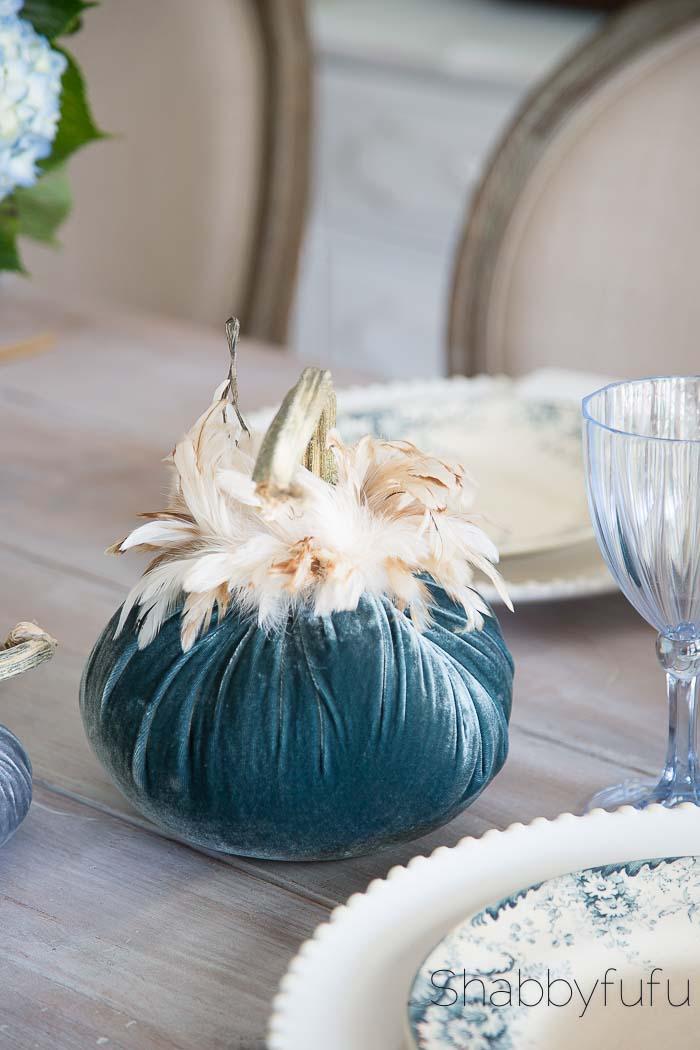 hotskwash velvet and feather pumpkins