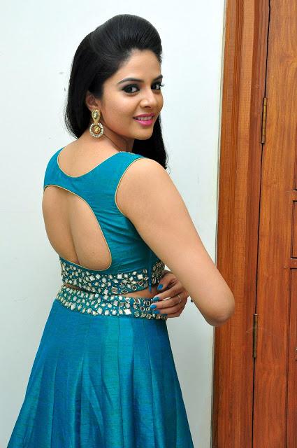 Sree Mukhi Hot Body In Blue Dress At Gentleman Movie Audio Release Event