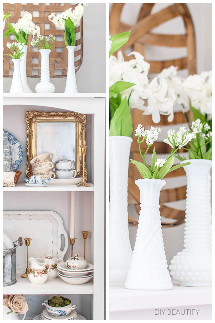bookcase with dishes and flowers