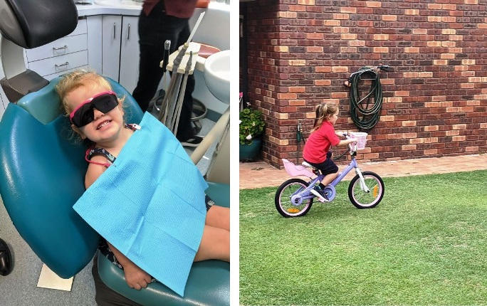 Firsts for the grandgirls - dentist and two wheels