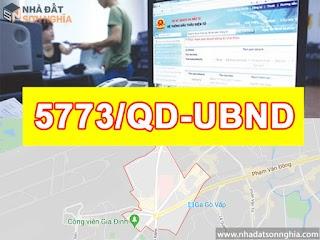 Quyết định số 5773/QĐ-UBND đề án lộ giới đường hẻm tỉ lệ 1/500 phường 3 quận Gò Vấp