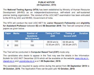 UGC NET NTA Exam Notification 2019, Exam Dates-National Eligibilty Test