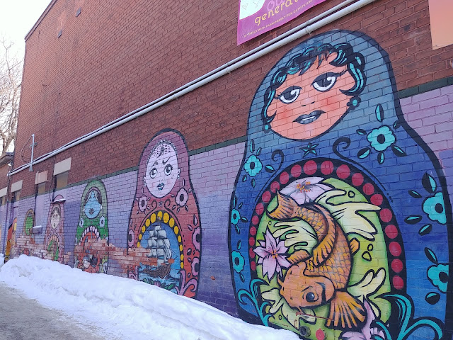 graffiti wall in the Glebe - russian dolls painted on a wall.
