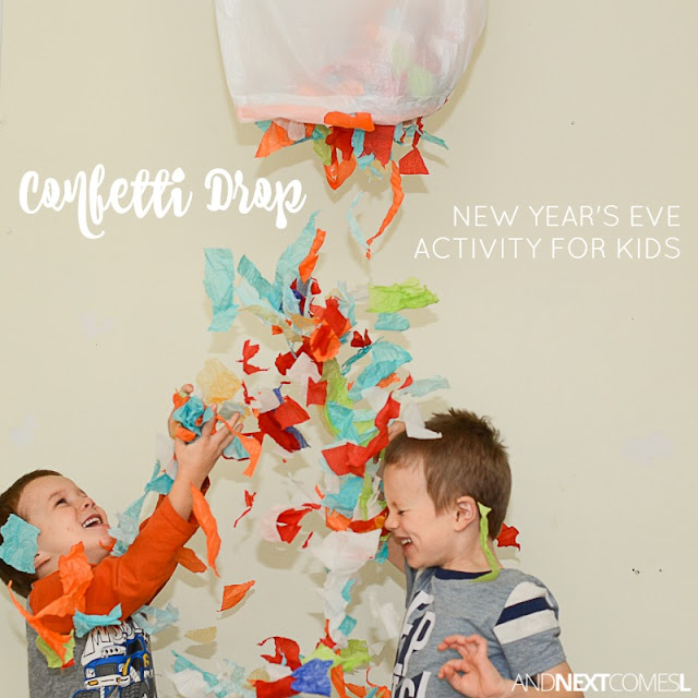 Make an easy DIY confetti drop as a New Year's Eve activity for the kids from And Next Comes L