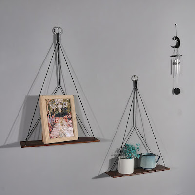 Boho Wood Hanging Shelves