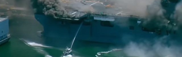 US NAVY ship is on fire
