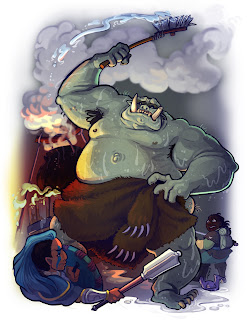 A large green ogre surrounded by the fighter and cleric