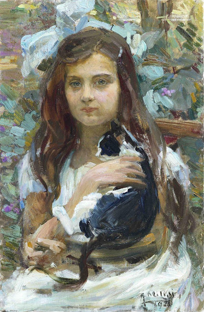 1920. Alessandro Milesi - Girl with a Cat