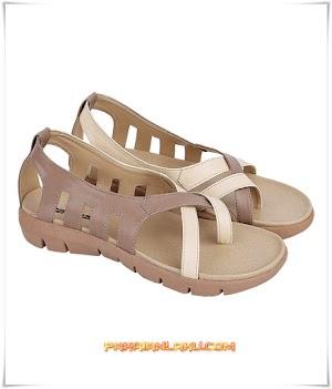 Sandal Capit Wanita Elegan Warna Cream Coklat