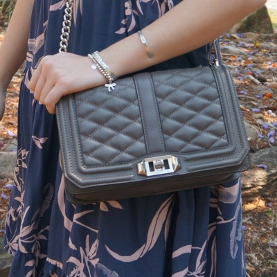 blush printed sundress with Rebecca Minkoff Love cross body bag in grey | away from the blue