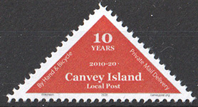 Canvey Island Local Post 10th Anniversary Triangle stamp